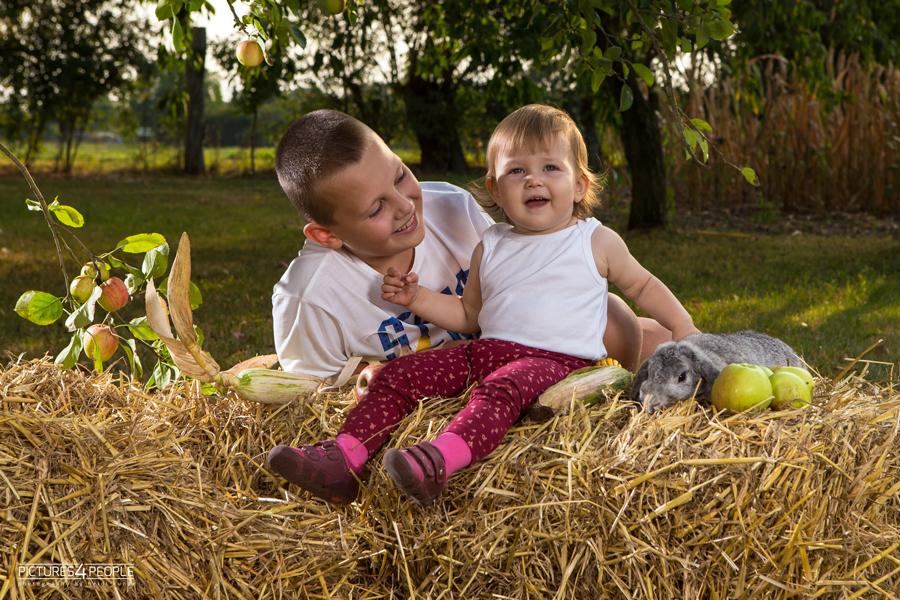 Geschwister auf Strohballen im Spätsommer mit Kaninchen