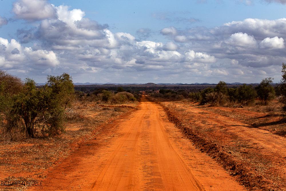 rote Erde, ein Weg in Kenia